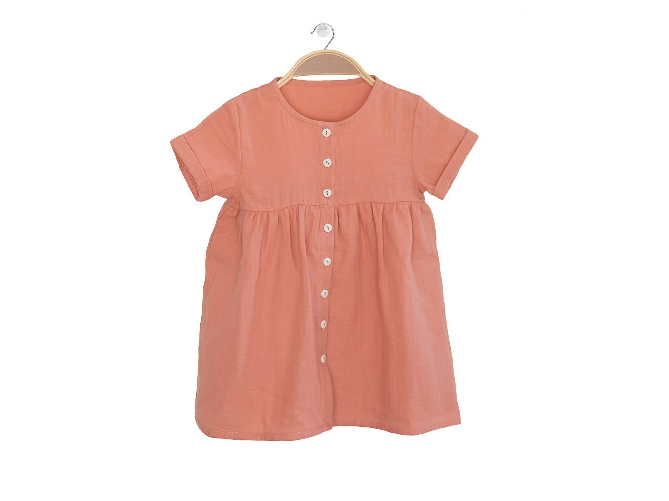 Peter Jo Kids Organic Dress Harmony for baby girls made of organic muslin cotton peach