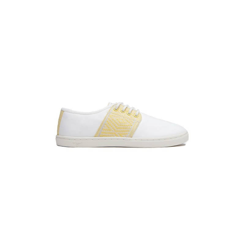 Vegan low-top sneakers in white with yellow details