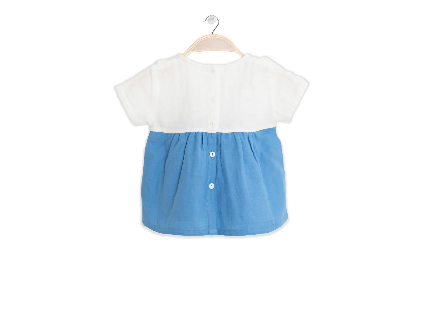 Peter Jo Kids Organic Shirt Grace for baby girls blue made of organic muslin cotton 1