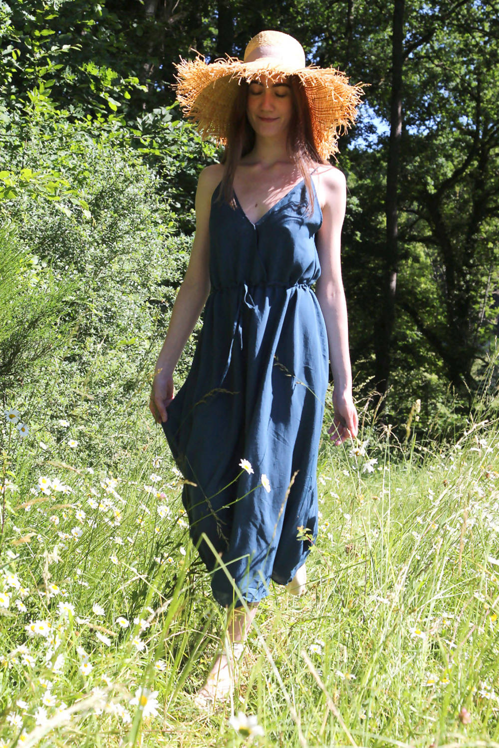 Upcycled dress Alba - Dark blue