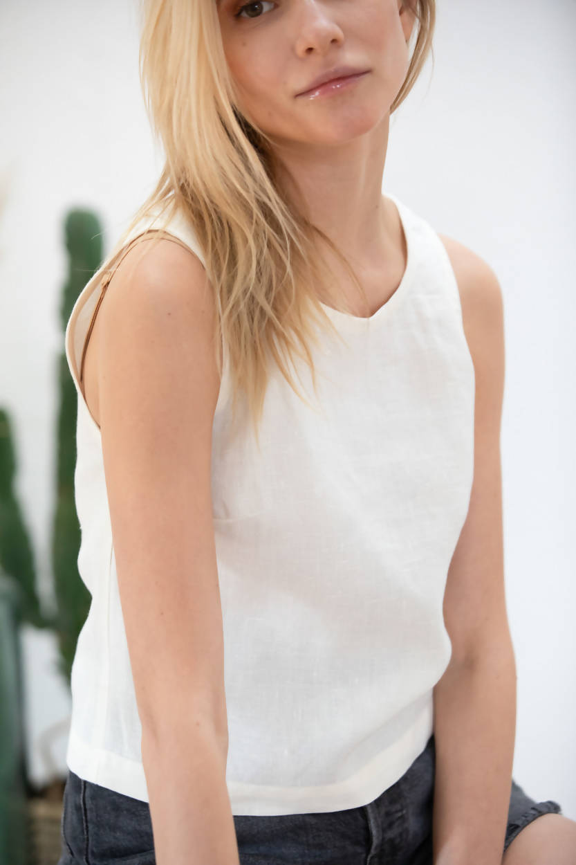 Linen Crop Top Mehonia - Off-white