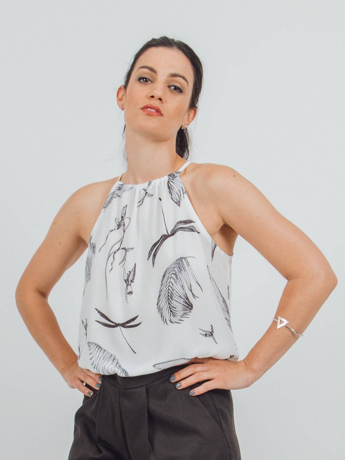 tied halter neck printed blouse made by recycled plastic bottles