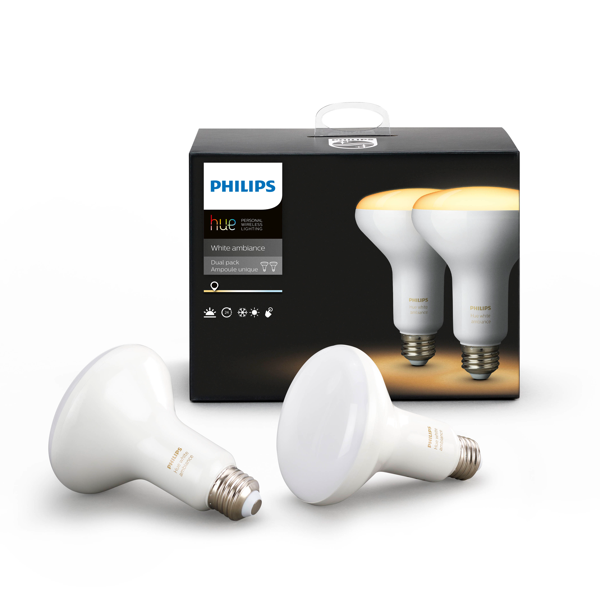 Philips Hue White Ambiance BR30 Flood Light 2-pack Packaging