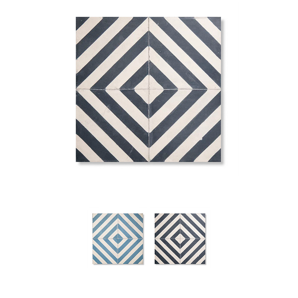 Diagonals Pattern floor and wall cement tile. Mix between modern and classic patterned cement / encaustic tile