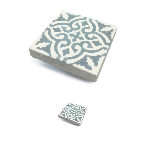 Marrakech traditional patterned cement tile / encaustic tile for outdoor use, e.g. patios, garden and driveway. Can resist frost and tough climates
