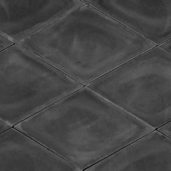 Diamond or rhomb shaped cement tile / encaustic tile in black for outdoor use, e.g. garden, patio or driveway
