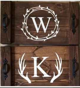 Wreath Monogram tray