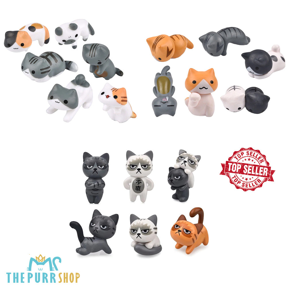 Miniature Home Decorative Cats 18 Pieces Bundle