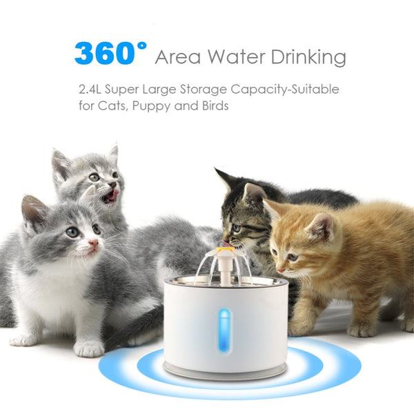 Automatic LED Drinking Stainless Steel Fountain - Flower Style Cat Bowl (2.4L)