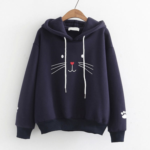 Cute Cat Face Women's Pullover Sweater Hoodie