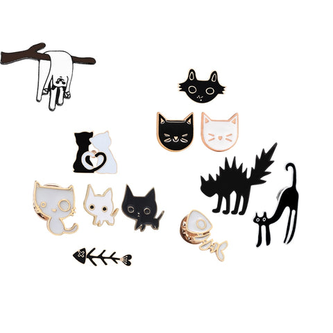 Cute Enamel Cartoon Cat Brooch Pins