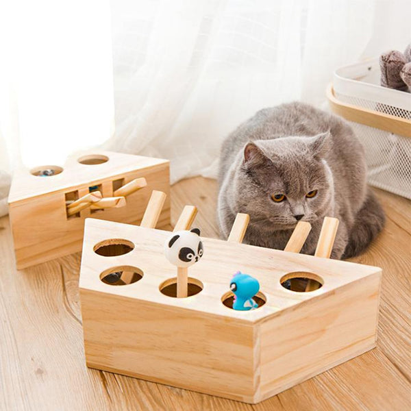 Interactive Mouse Hunt Wooden Cat Toy