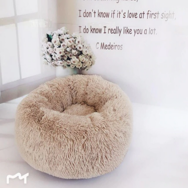 Round Soft Plush Cat Sleeping Bed
