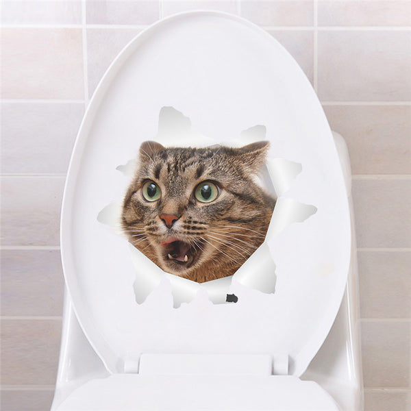 3D Cat Wall/Toilet Vinyl Decal Wall Sticker