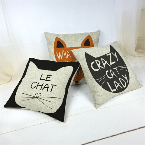 Decorative Home Cat Couch Cushion Pillow Covers & Cases