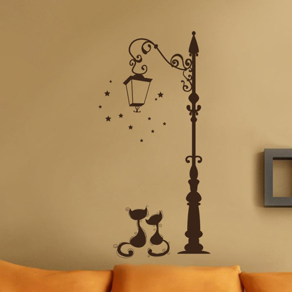 Light pole & Cats Vinyl Wall Sticker Decal