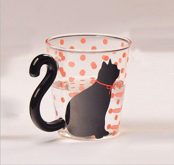 Cute Creative Black Tail Cat Kitty Glass Cup