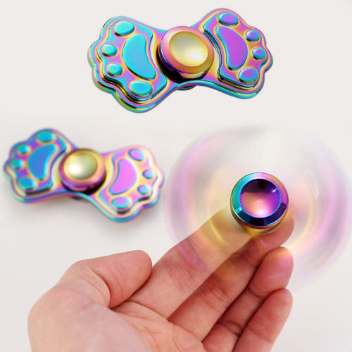 Rainbow Brass Cat Claw Fidget Spinner Toy