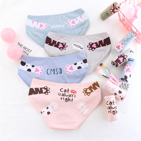 Cartoon Cat Paw Print Cotton Panties