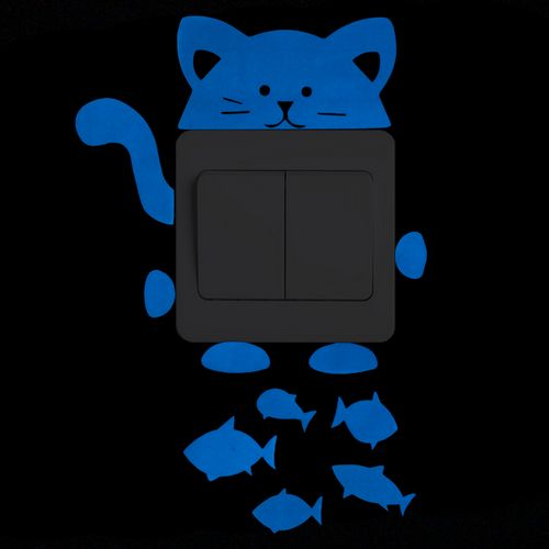 Cute Cat Glow In The Dark Wall Light Switch Decals