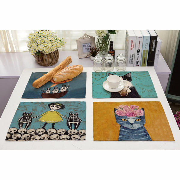 Cat Cartoon Dining Table Placement Mats