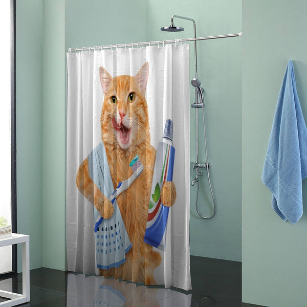 Cat Brushing Teeth Shower Curtain