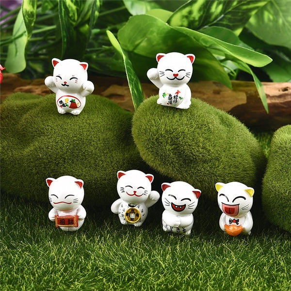 Miniature Lucky Feng Shui Cats 6 Pieces
