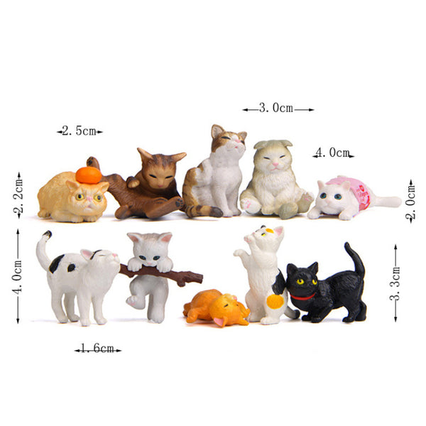 Realistic Miniature Household Ornamental Cats 10 Pieces