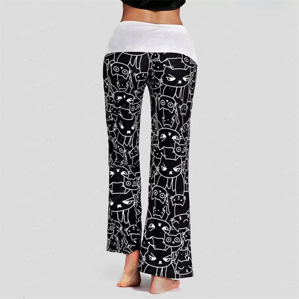 Cat Print Drawstring Pants