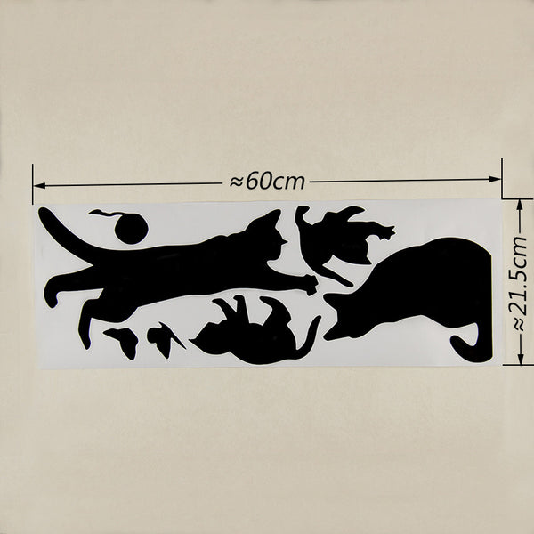Cats Playing Removable Vinyl Wall Decal Stickers
