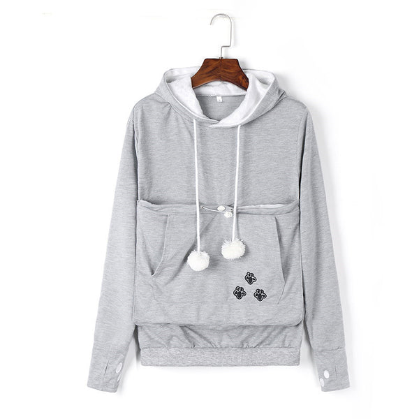 Comfy Women's Cat Pouch Hoodie Sweater
