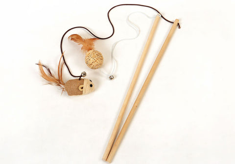Cat Feather, Ball & Mouse Wand Teaser Toy Stick