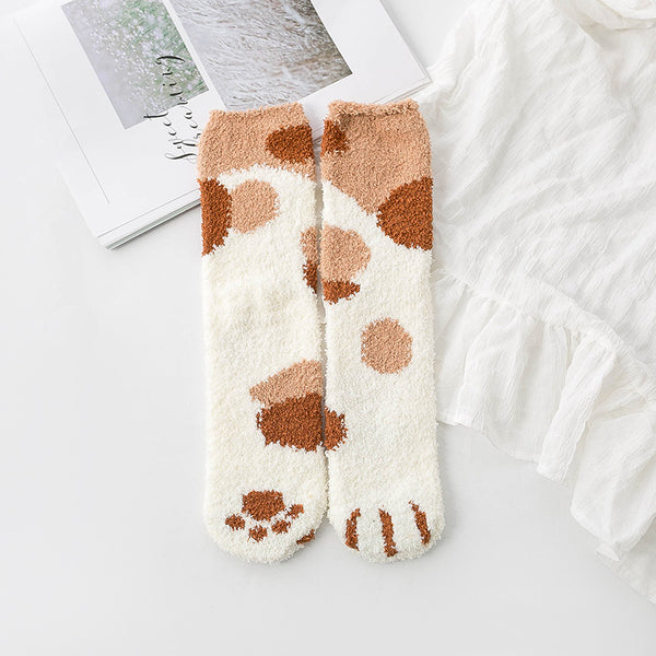 Cute Fuzzy Paw Cat Socks