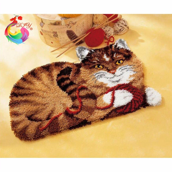 Cartoon Cat Embroidery DIY Latch Hook Rug Kit