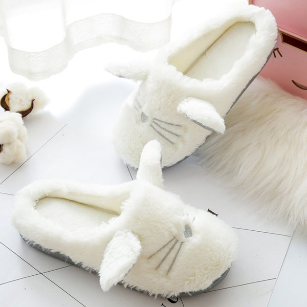 Cute Cat Soft Plush Home Slippers