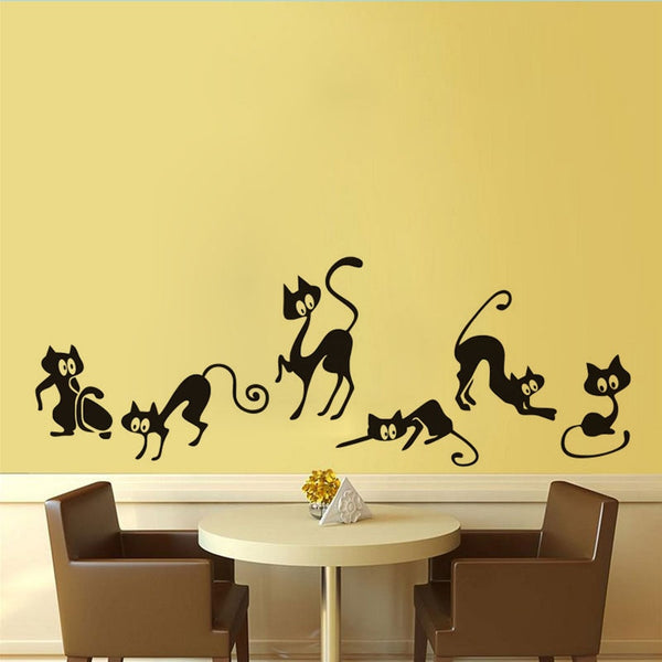 Lovely 6 Cats Removable Vinyl Wall Decal Stickers