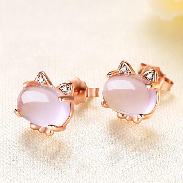Rose Quartz Gold Plated Rhinestone Cat Earrings