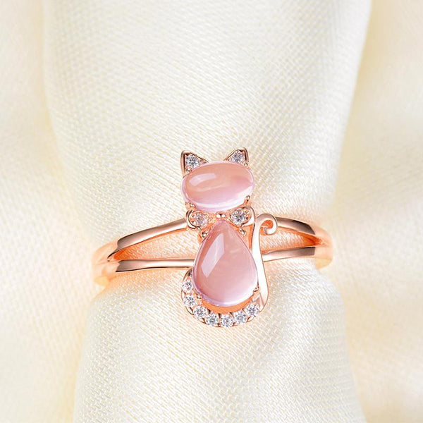 Rose Quartz Gold Plated Rhinestone Cat Ring
