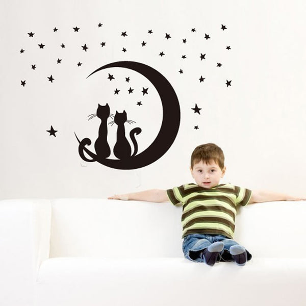 Crescent Moon & Star Cats Removable Vinyl Wall Decal Stickers