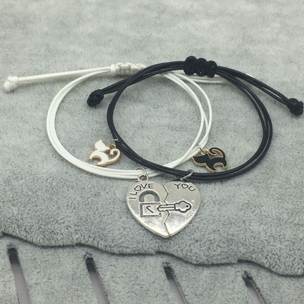 Romantic Cute Cat Couple Heart Stitching Bracelets