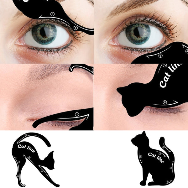 Eyebrow Shape Cat Line Stencils  (2Pcs)
