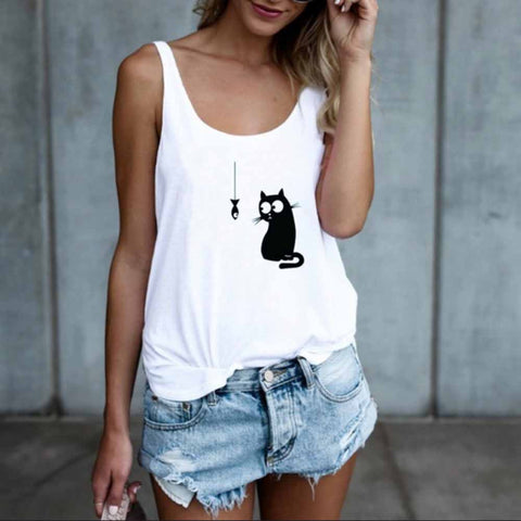 Casual Cat Printed Sleeveless Summer Women's Tank Top