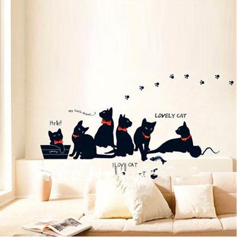 6 Cats & Paws Removable Vinyl Wall Decal Stickers