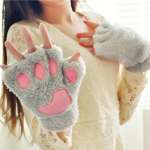 Plush Cat Paw Fingerless Mittens