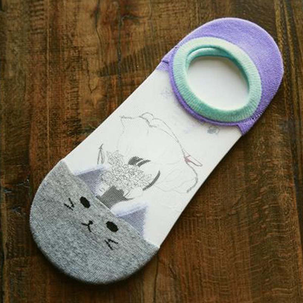 Cute Cat Face Low Cut Ankle Socks