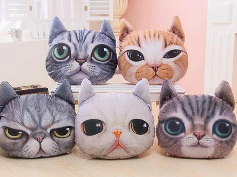 3D Cat Face Sofa & Chair Throw Pillow Cover