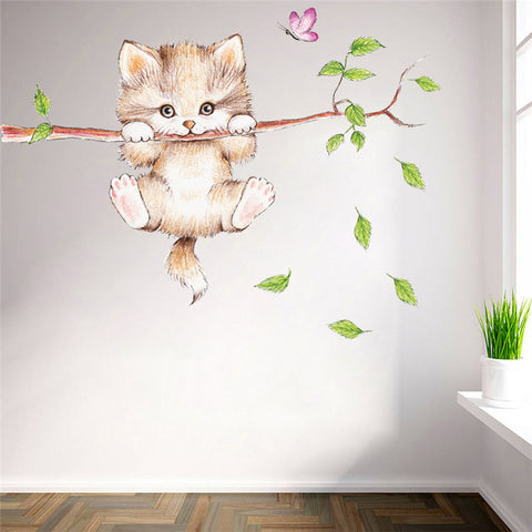 Cartoon Cat With Branch Removable Vinyl Wall Decal Stickers