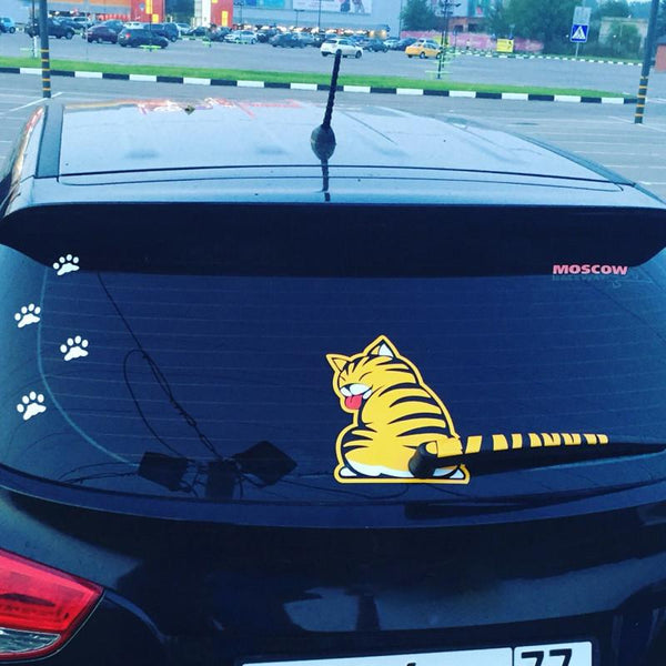 Funny Cat Window Decal - Wiper Blade Sticker