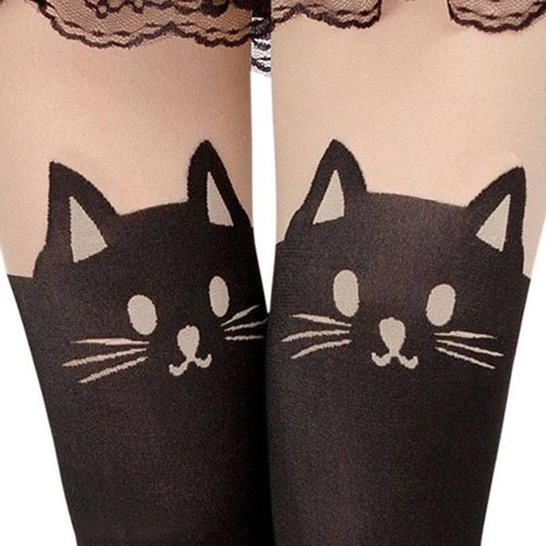 Cat Face & Tail Knee High Pantyhose Tights