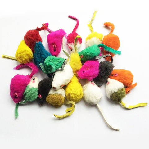 10 Rainbow Mice Cat Toys
